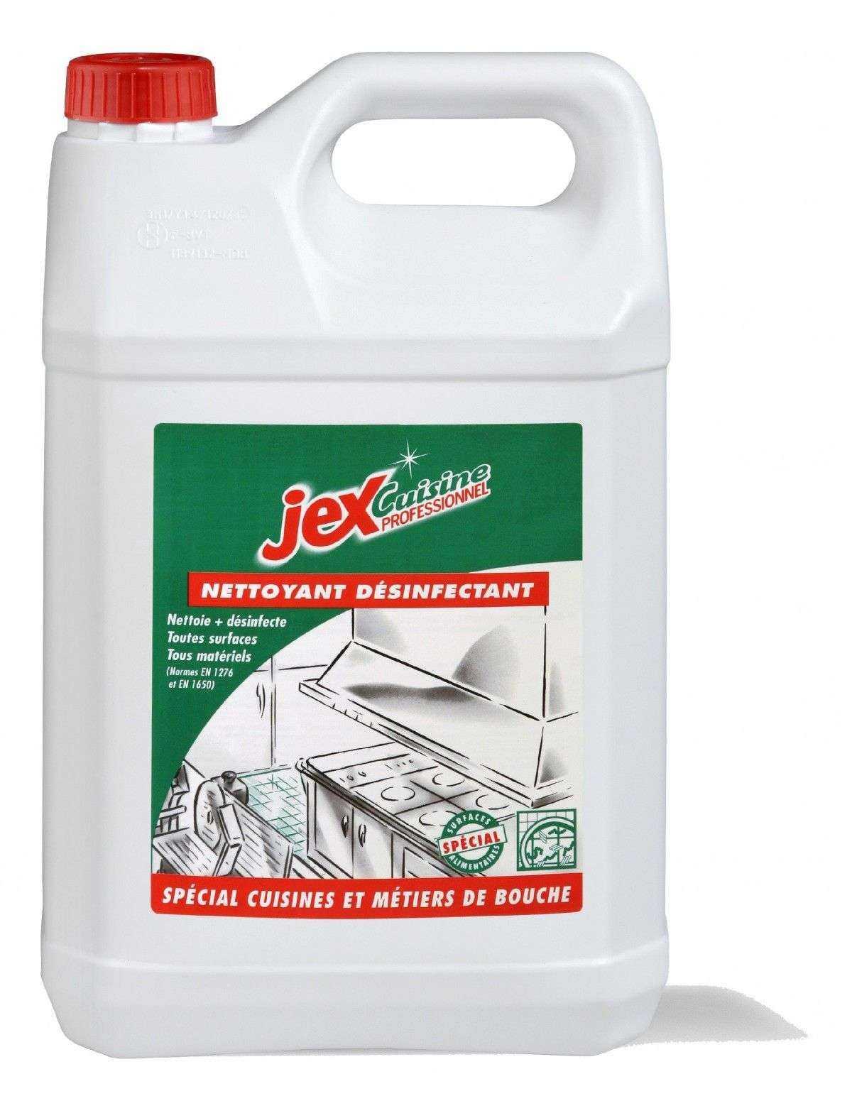 jex professionnel nettoyant desinfectant special cuisine le bidon de 5 litres