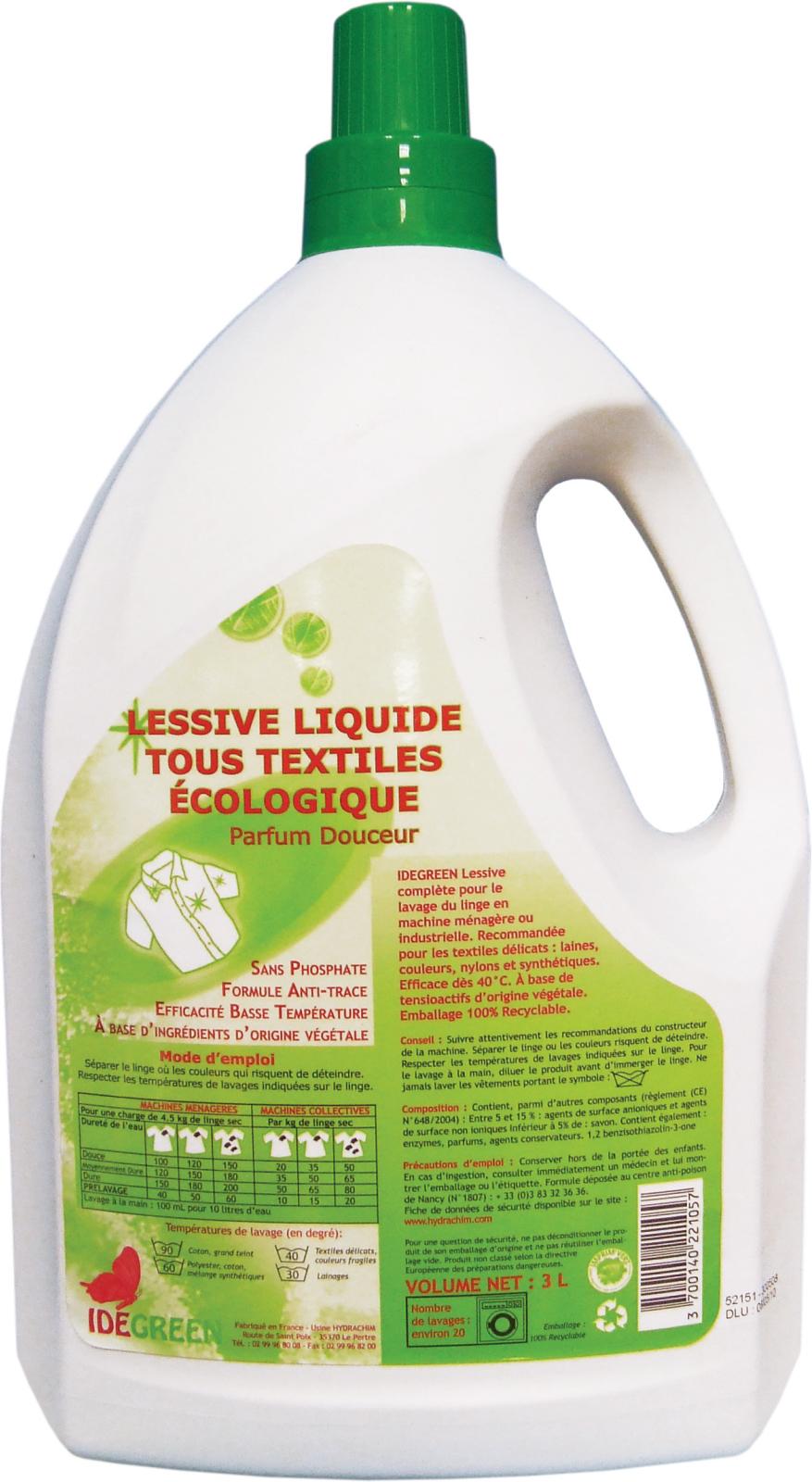 lessive liquide ecologique idegreen le bidon de 3 litres. Black Bedroom Furniture Sets. Home Design Ideas
