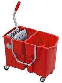 seau de lavage clevy bi bac 2 15 litres sur roulettes avec. Black Bedroom Furniture Sets. Home Design Ideas