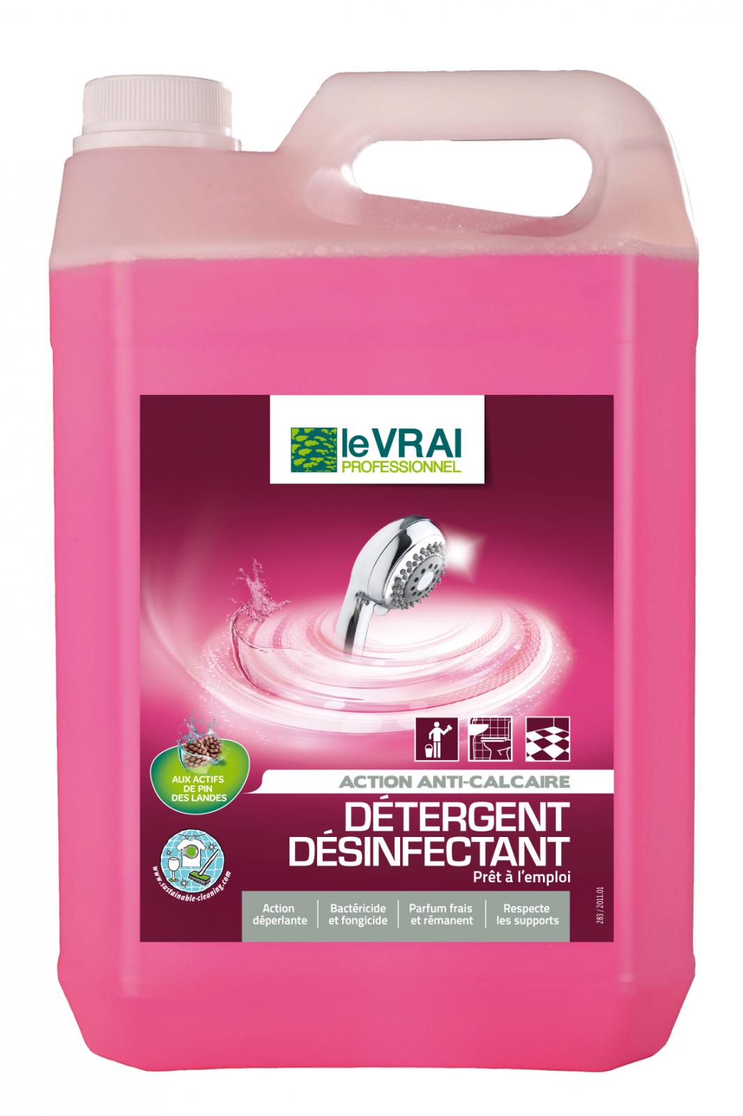 detergent desinfectant sanitaire 5 en 1 le vrai 5 litres. Black Bedroom Furniture Sets. Home Design Ideas