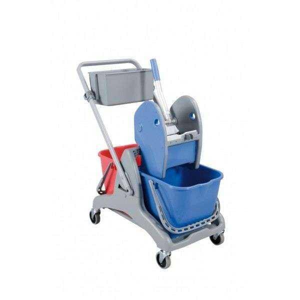 chariot de lavage bi bac 2x15l sur roulettes avec presse et bac. Black Bedroom Furniture Sets. Home Design Ideas